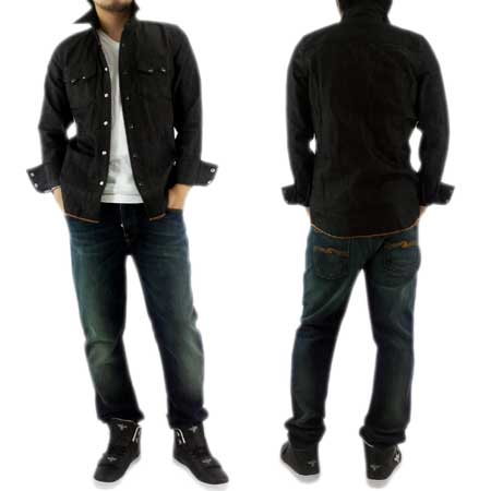 NUDIE JEANS GUSTAV 130658 Black Denim Shirt牛羚D牛仔裤古斯塔夫130658黑色粗斜纹布衬衫