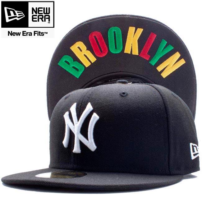 b80afd646620d cio-inc  New era 5950 Cap under visor New York Yankees Brooklyn black white  Rasta New Era 59FIFTY Cap Under Visor New York Yankees Brooklyn