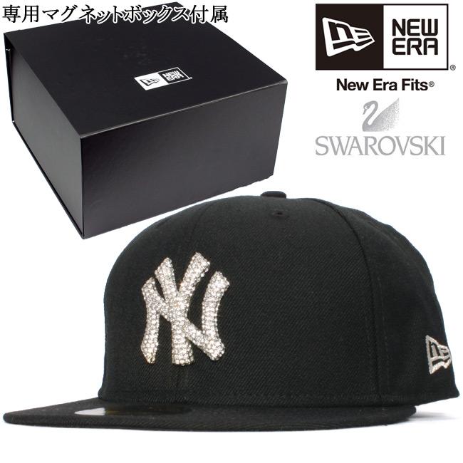 34e7be10f Swarovski (R) エレメンツ X new gills 5950 キャップニューヨ-クヤンキースブラッククリアストーンシルバー  Swarovski(R) Elements X New Era 59FIFTY New York Yankees