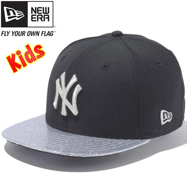 cheap for discount 45e45 483b7 New era 950 Snapback kids caps New York Yankees under visor glitter Black  Silver New Era ...