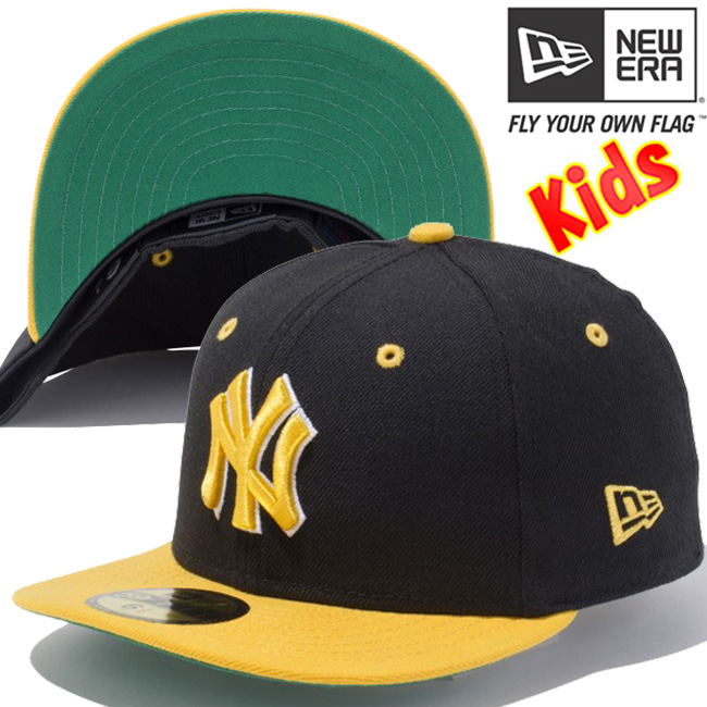 68df007aa New era 5950 kids caps yellow logo New York Yankees custom black green New  Era 59FIFTY ...