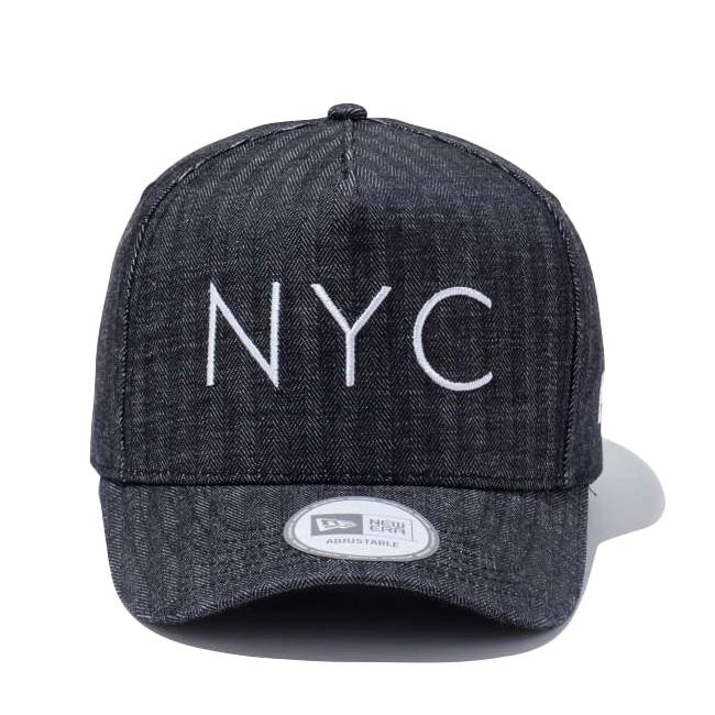 뉴 에러 940 캡 데 프레임 데님 헤링본 뉴욕 시티 블랙 화이트 New Era 9 FORTY Cap D-Frame Denim Herringbone New York City Black White