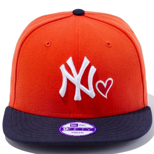 170e1192 ... New era 950 Snapback kids Cap heart logo collection New York Yankees  Orange Navy white New ...