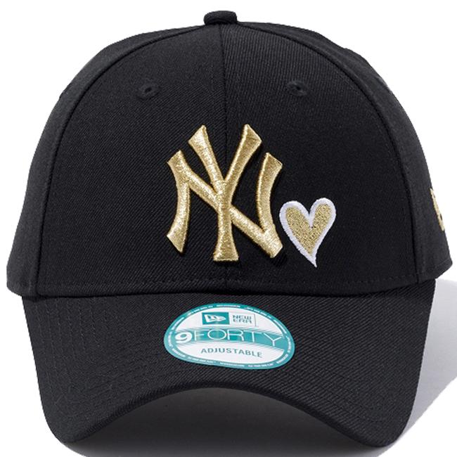 7c8c3f0f085 New era 940 Cap New York Yankees heart logo collection black gold white New  Era 9FORTY Cap New York Yankees Heart Logo Collection Black Gold