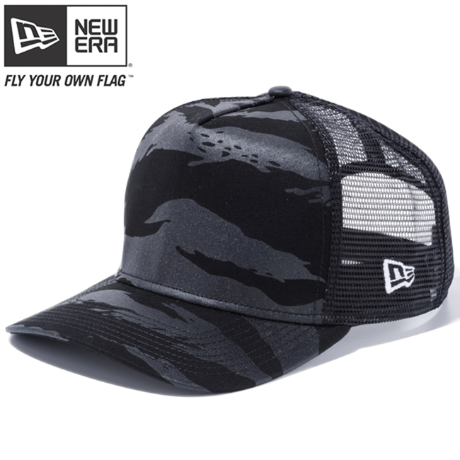 New gills 940 A frame trucker cap Tigers tripe duck black black mesh white  New Era 9FORTY A-Frame Trucker Cap Tiger Stripe Camo Black Mesh 3ecb0c649dc