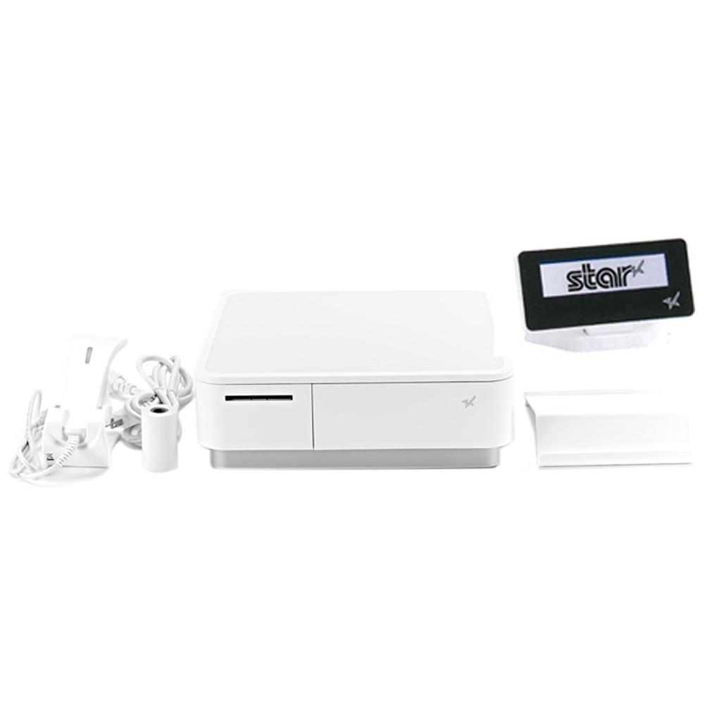 スター精密 キャッシュドロア(キャッシュドロワ)一体型感熱式プリンター mPOP 旧 POP10-B1OF WHT JP 新 POP10-B1 WHT JP バーコードリーダー同梱 セット(カスタマーディスプレイ) USB Bluetooth DK MFi ホワイト Star Micronics Cash Drawer Thermal Printer mPOP