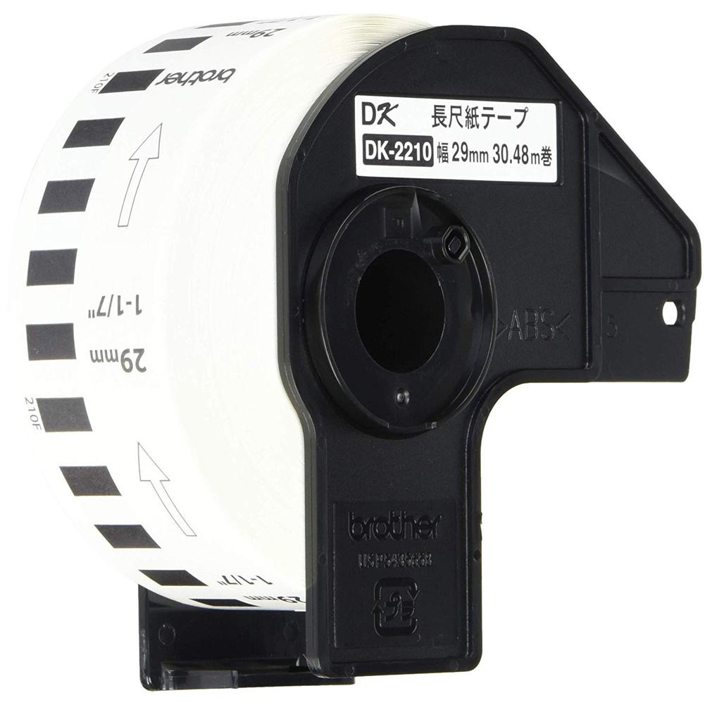 ブラザー 感熱式ラベルテープ 長尺紙テープ DKテープ DK-2210 ホワイト 幅29mm 30.48m巻 24巻セット Brother Thermal Label Tape Long Paper Tape DK Tape Thermal Paper DK-2210 White width 29mm Length 30.48m 24 Rolls
