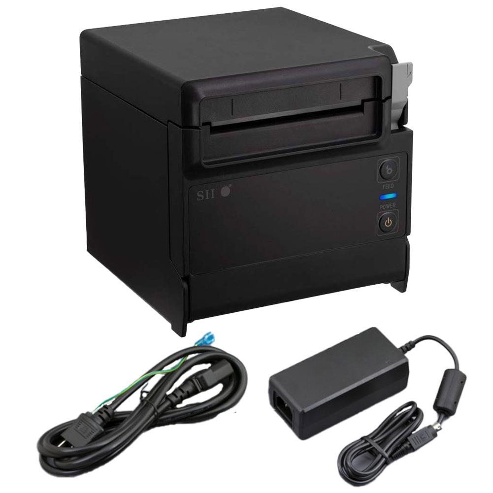 セイコーインスツル 据え置き型感熱式プリンター RP-F10シリーズ RP-F10-K27J1-3 セット(ACアダプター、電源ケーブル付き) Ethernet接続 ブラック Seiko Instruments Stationary Thermal Printer RP-F10 Series RP-F10-K27J1-3