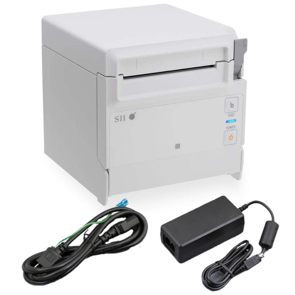セイコーインスツル 据え置き型感熱式プリンター RP-F10シリーズ RP-F10-W27J1-4 セット(ACアダプター、電源ケーブル付き) Bluetooth接続 MFi認定 ホワイト Seiko Instruments Stationary Thermal Printer RP-F10 Series RP-F10-W27J1-4