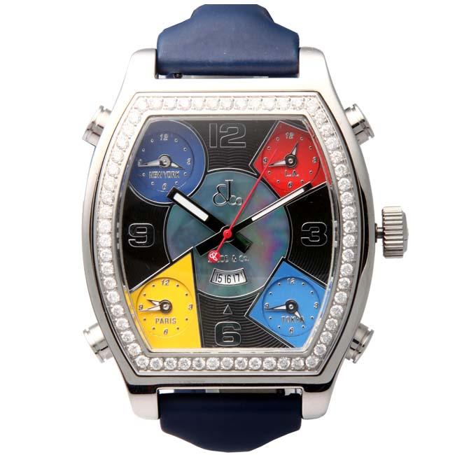 ジェイコブ ファイブタイムゾーン ウォッチ JCS ブルー ベルト パール/ブラック/ブルー/レッド/イエローJacob&Co. Five Time Zone Watch JCS Blue Belt