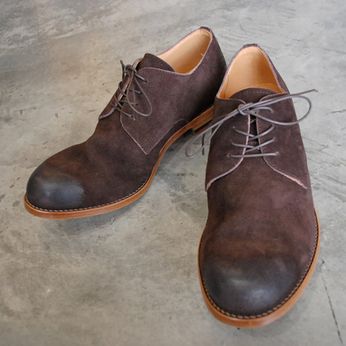 PADRONE パドローネ VELOUR DERBY PLAIN TOE SHOES / JACK ダークブラウン D.BROWN PU7358-2049-19D