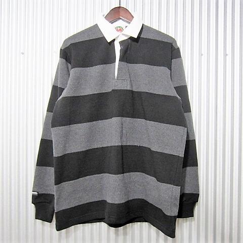[日本正規品] barbarian [rugby shirts][nfe-15][regular][ls][heavy][4inch][coal/black] バーバリアン ラガーシャツ レギュラーカラー ヘヴィーウエイト 長袖 コール/ブラック