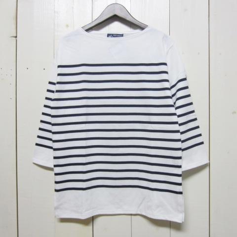 saint james naval [jc1239][qs][neige/marine] セントジェームス ナバル 7分袖 ホワイト/ネイビー