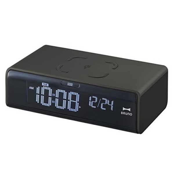 イデア idea ブルーノ BRUNO LCDクロック with ワイヤレス充電 ブラック BCA020-BK