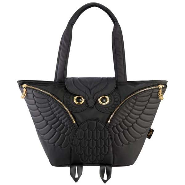 dfc601de3c citron glaces  MORN CREATIONS Mohn creation eared owl premature start tote  bag black OW-401BLK