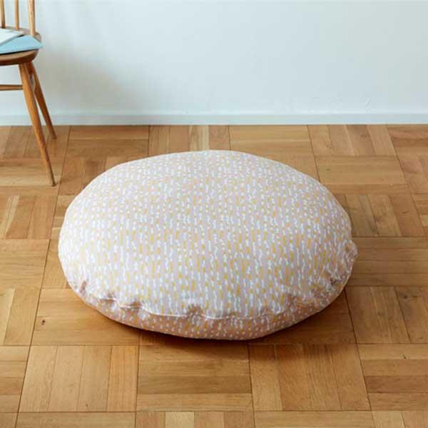 Quarter Report クォーターリポート RiekoOka フロアクッション100 Floor Cushion100 しずく Shizuku (カラー:グレー・イエロー・ピンク)