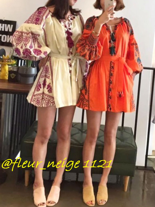 a52aa01b0a Ortega embroidery ethnic fringe mini-tunic dress long sleeves vivid color  embroidery tassel sleeve resort tassel celebrity in the spring and summer