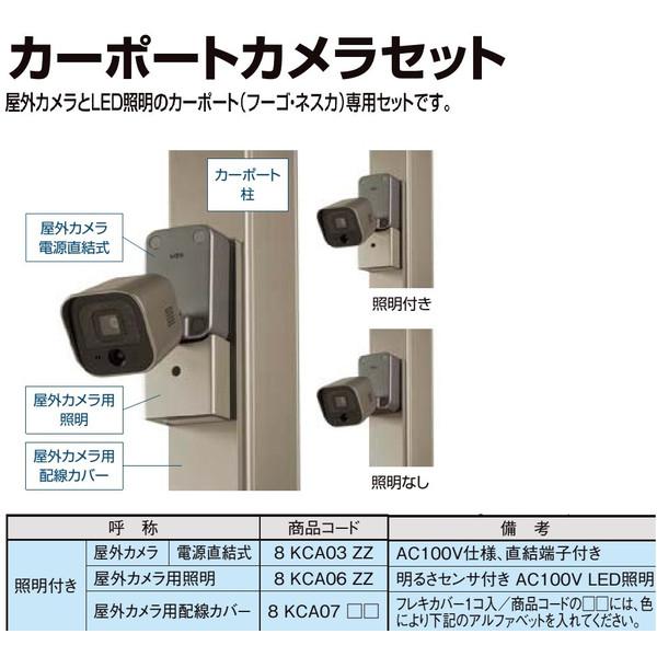 スマートエクステリア カーポートカメラセット 屋外カメラ 照明なし・配線カバー付き 電源直結式 AC100V仕様 直結端子付 8KCA03ZZ 8KCA07ZZ DIY リフォーム