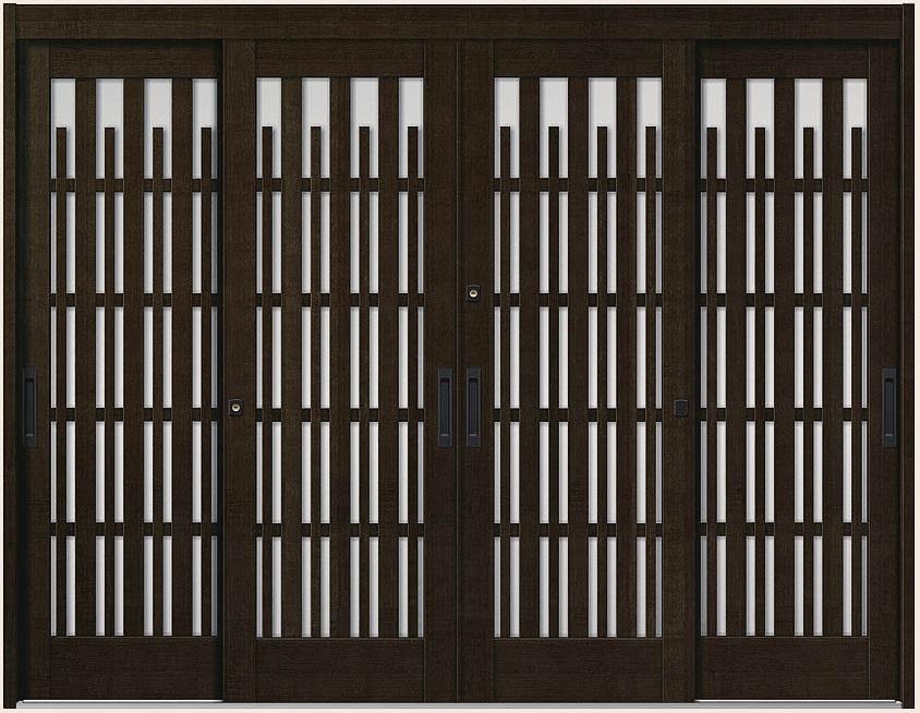 玄関引戸 花伝 K6 4枚建て 93型 切子格子 半外付枠 ランマなし 35122 W:3,514mm × H:2,280mm LIXIL リクシル TOSTEM トステム