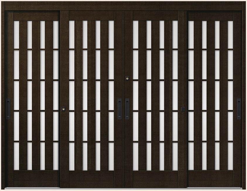 玄関引戸 花伝 K6 4枚建て 94型 板子格子 内付枠 ランマなし 35122 W:3,514mm × H:2,280mm LIXIL リクシル TOSTEM トステム