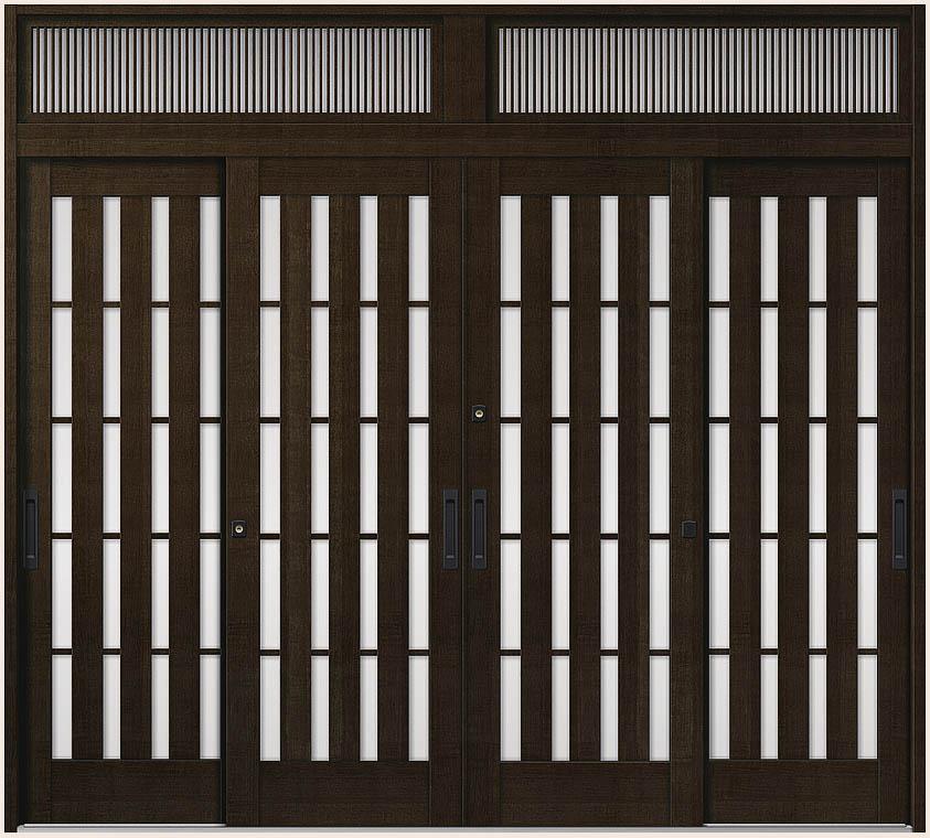 花伝 K6 4枚建て 内付枠 ランマ付き 94型 板子格子 26023 W:2,604mm × H:2,337mm 玄関引戸 LIXIL リクシル TOSTEM トステム
