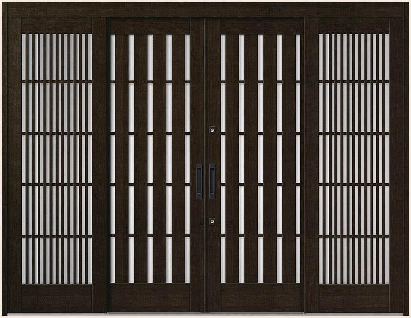 花伝 K6 引分け戸 内付枠 ランマなし 94型 板子格子 27422 W:2,740mm × H:2,280mm 玄関引戸 LIXIL リクシル TOSTEM トステム