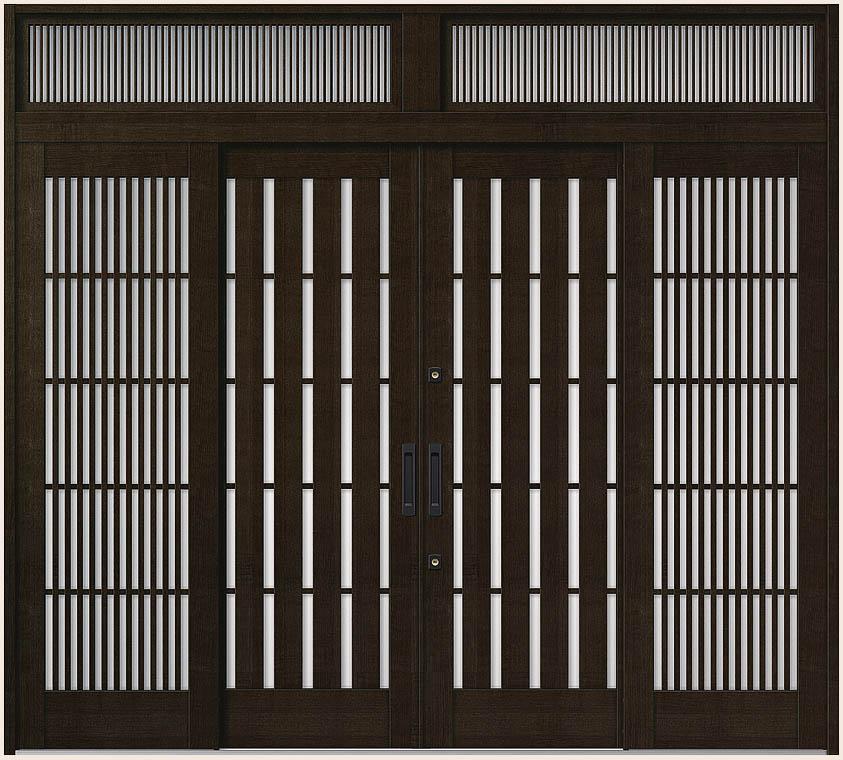 花伝 K6 引分け戸 内付枠 ランマ付き 94型 板子格子 27423 W:2,740mm × H:2,337mm 玄関引戸 LIXIL リクシル TOSTEM トステム