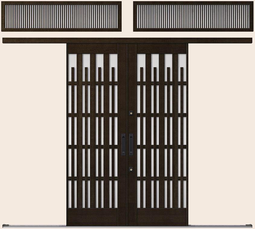 花伝 K6 一筋引分け戸 ランマ付き 93型 切子格子 35119 W:3,514mm × H:1,964mm 玄関引戸 LIXIL リクシル TOSTEM トステム