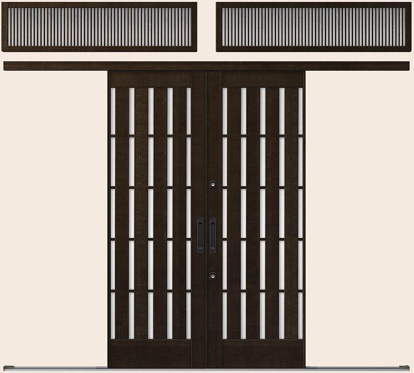 花伝 K6 一筋引分け戸 ランマ付き 94型 板子格子 26019 W:2,604mm × H:1,964mm 玄関引戸 LIXIL リクシル TOSTEM トステム