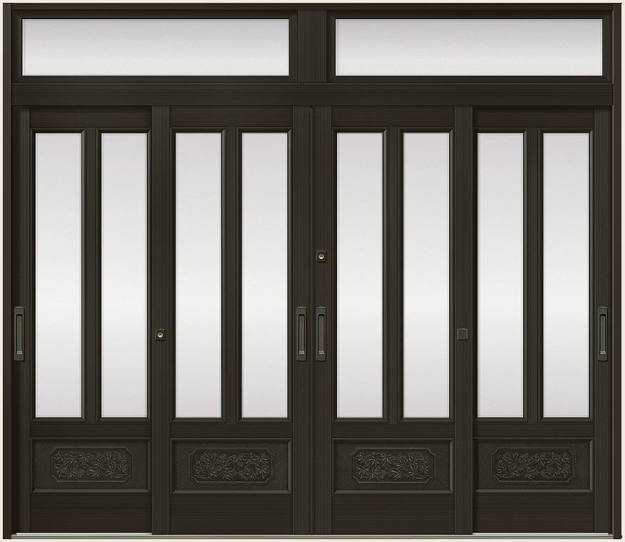 玄関引戸 光悦 K6 4枚建て 56型 面付格子腰付 内付枠 ランマ付き 26022 W:2,604mm × H:2,246mm LIXIL リクシル TOSTEM トステム