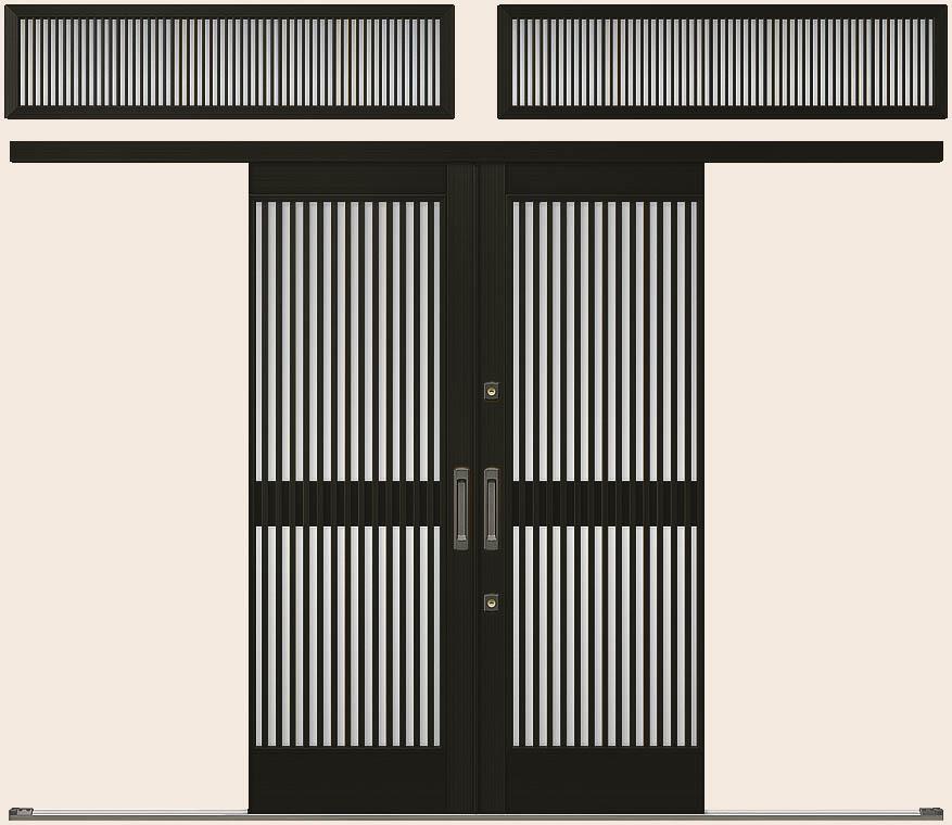 玄関引戸 光悦 K6 一筋引分け戸 50型 千本格子 ランマ付き 26018 W:2,604mm × H:1,873mm LIXIL リクシル TOSTEM トステム