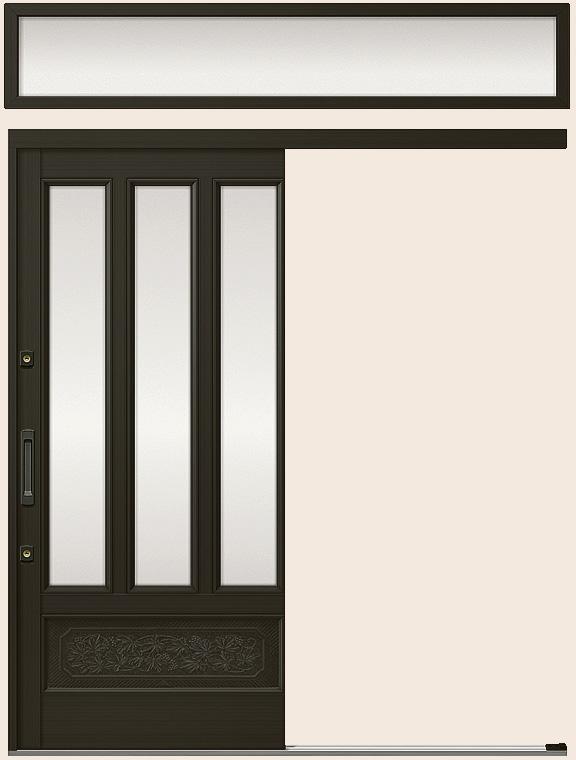 玄関引戸 光悦 K6 一筋片引き戸 56型 面付格子腰付 ランマ付き 16918 W:1,692mm × H:1,873mm LIXIL リクシル TOSTEM トステム