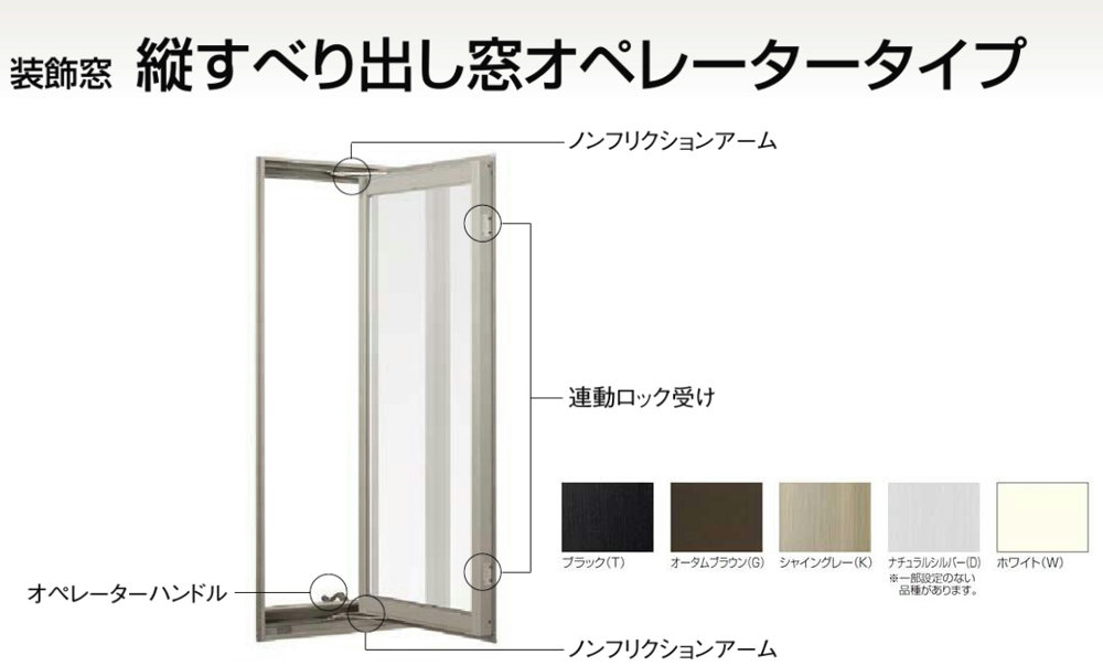 デュオPG 複層ガラス 縦すべり出し窓オペレーターT 単体 サッシ 呼称 03611 W:405mm × H:1170mm LIXIL リクシル TOSTEM トステム DIY リフォーム