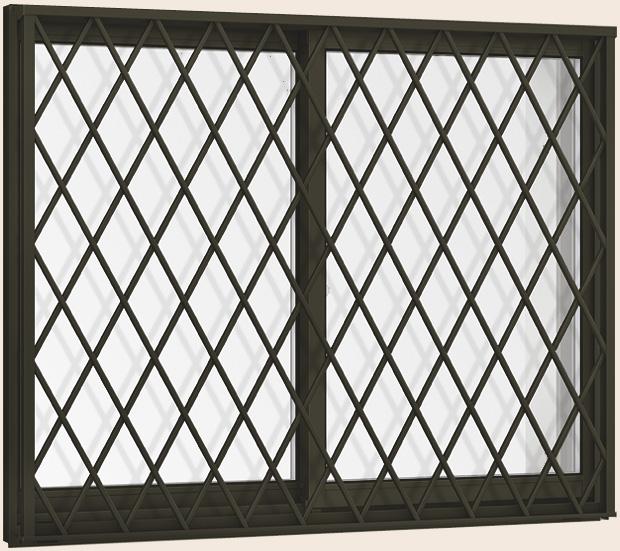 【タイムセール!】 × リクシル TOSTEM 引き違い トステム:Clair(クレール)店 2枚建て H:970mm 06009 サーモスII-H ヒシクロス面格子付き Low-E複層ガラス仕様 LIXIL W:640mm-木材・建築資材・設備