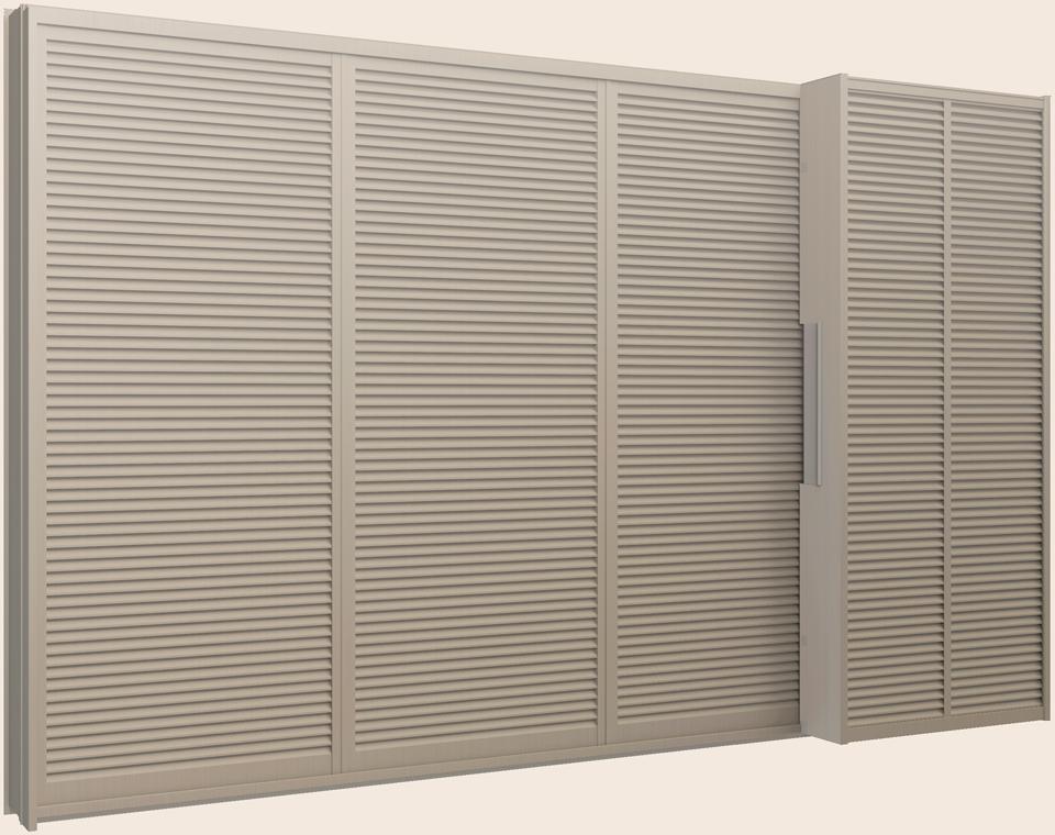 サーモスL 雨戸付引き違い 4枚建て(雨戸3枚) 半外付型 鏡板付 LOW-E複層ガラス仕様 256204 W:2,600mm × H:2,030mm LIXIL リクシル TOSTEM トステム