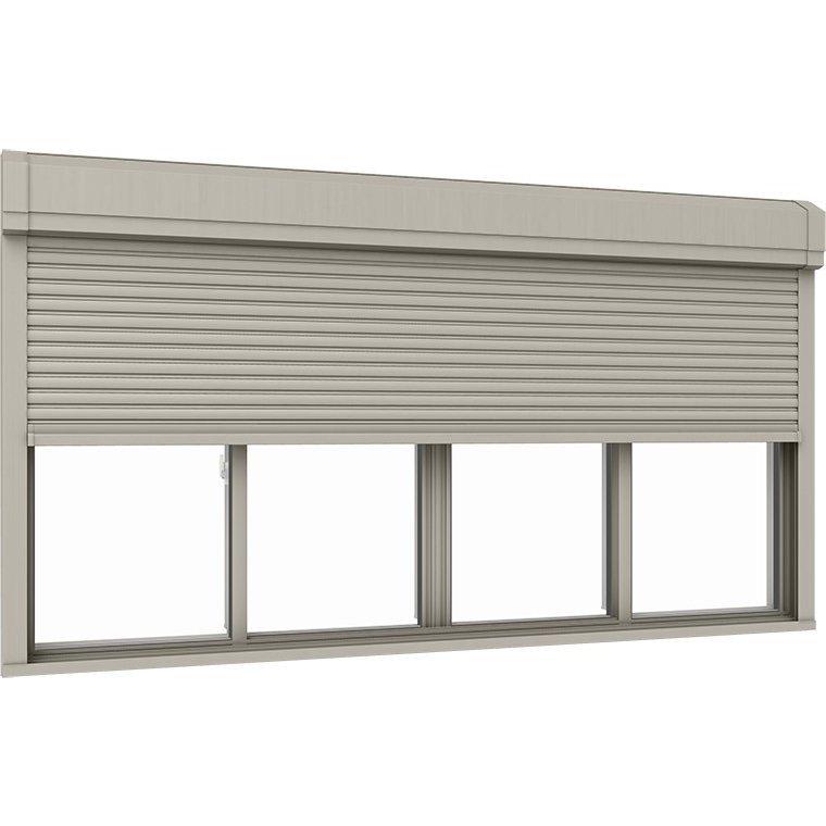 サーモスII-H シャッター付引違い窓 4枚建て 半外付型 一般複層ガラス仕様 標準タイプ 手動 251114 W:2,550mm × H:1,170mm リクシル