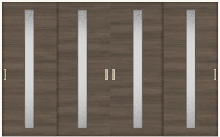 特注サイズ ラシッサD ラテオ 室内引戸 Vレール方式 引違い4枚建て ALHF-LGA 錠なし W:2341-3949mm × H:1728-2425mm ノンケーシング / ケーシング リクシル