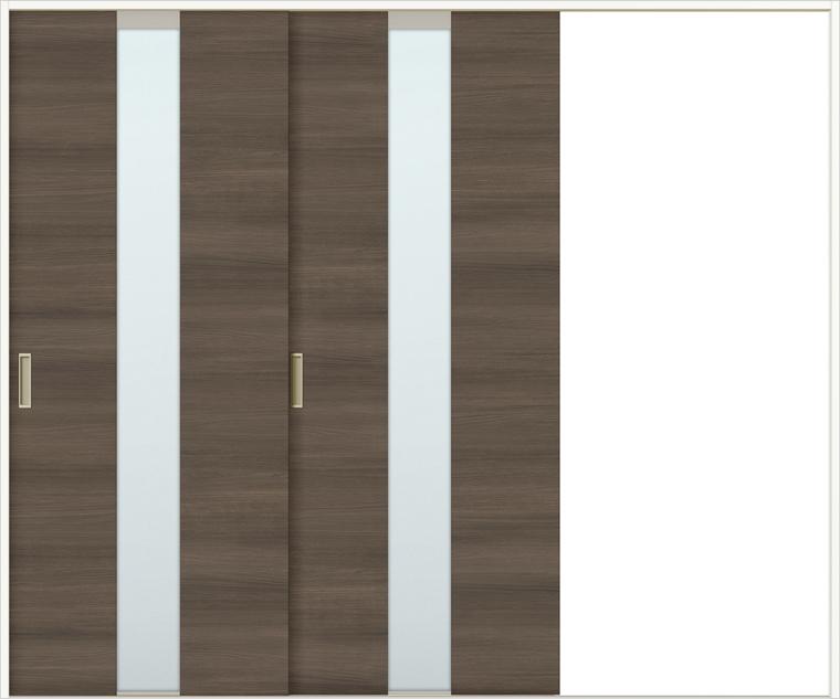 特注サイズ ラシッサDラテオ 室内引戸 Vレール方式 片引戸2枚建て ALKD-LGM 錠なし W:1748-2954mm × H:1728-2425mm ノンケーシング / ケーシング