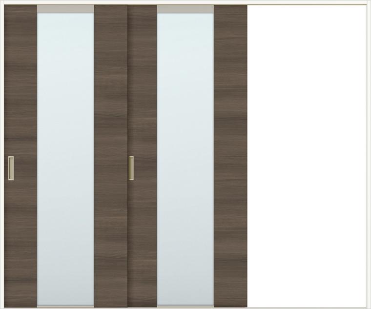 特注サイズ ラシッサDラテオ 室内引戸 Vレール方式 片引戸2枚建て ALKD-LGN 錠なし W:1748-2954mm × H:1728-2425mm ノンケーシング / ケーシング