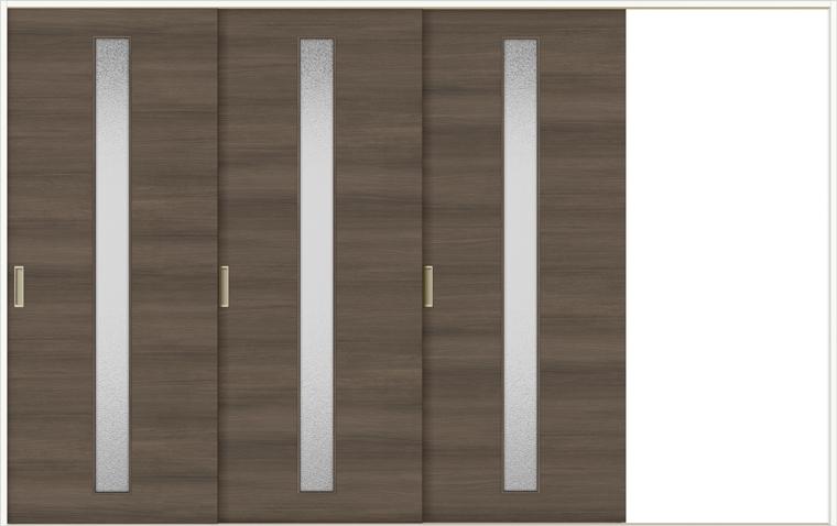 特注サイズ ラシッサD ラテオ 室内引戸 Vレール方式 片引戸3枚建て ALKT-LGA 錠なし W:2308-3916mm × H:1728-2425mm ノンケーシング / ケーシング