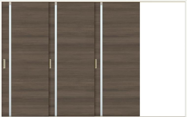 特注サイズ ラシッサD ラテオ 室内引戸 Vレール方式 片引戸3枚建て ALKT-LGL 錠なし W:2308-3916mm × H:1728-2425mm ノンケーシング / ケーシング
