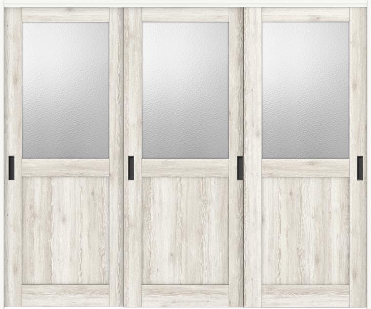 特注サイズ ラシッサD パレット 室内引戸 間仕切り上吊引戸 引違い戸3枚建て APMHT-LGH 錠なし W:1604-2954mm × H:1750-2425mm ノンケーシング/ケーシング
