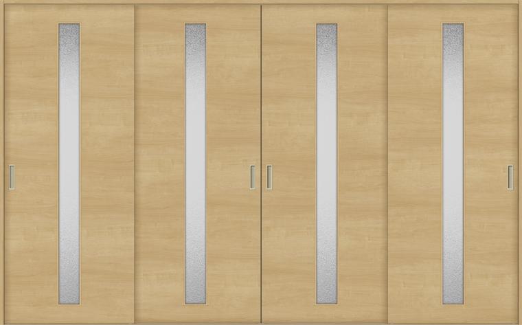 特注サイズ ラシッサS 室内引戸 Vレール方式 引違い4枚建て ASHF-LGB 錠無しW:2341-3949mm × H:1728-2425mm ノンケーシング/ケーシング LIXIL TOSTEM