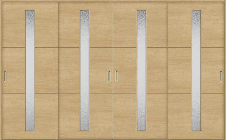 特注サイズ ラシッサS 室内引戸 Vレール方式 引違い4枚建て ASHF-LGD 錠無しW:2341-3949mm × H:1728-2425mm ノンケーシング/ケーシング LIXIL TOSTEM