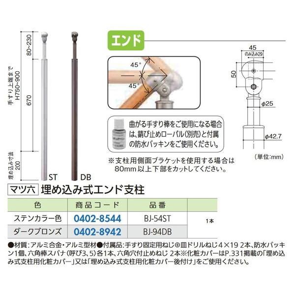 【リフォーム用品】 マツ六 フリーRレール 埋込式エンド゛支柱 BJ-54ST DIY リフォーム