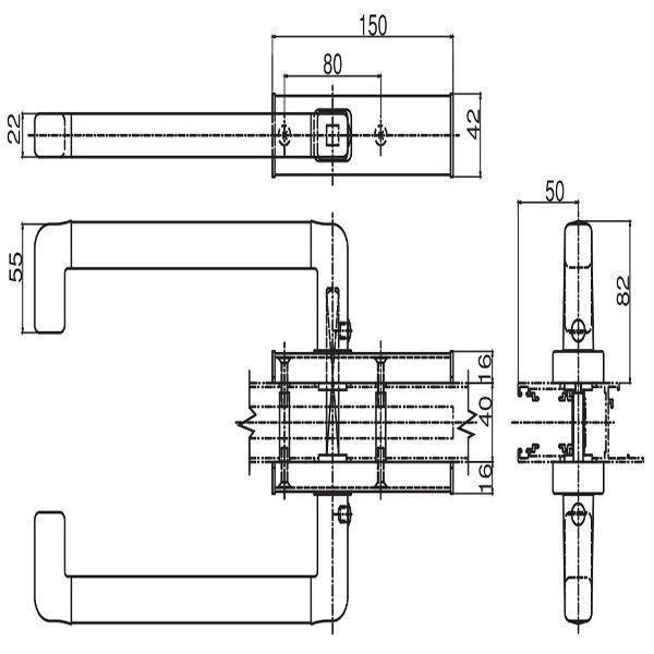 【YKK AP メンテナンス部品】 両面ハンドル (HH-2K-19009L) DIY リフォーム