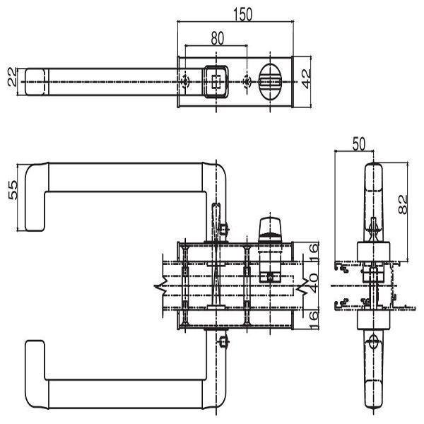 【YKK AP メンテナンス部品】 両面ハンドル 片面サムターン付 (HH-2K-19041L) DIY リフォーム