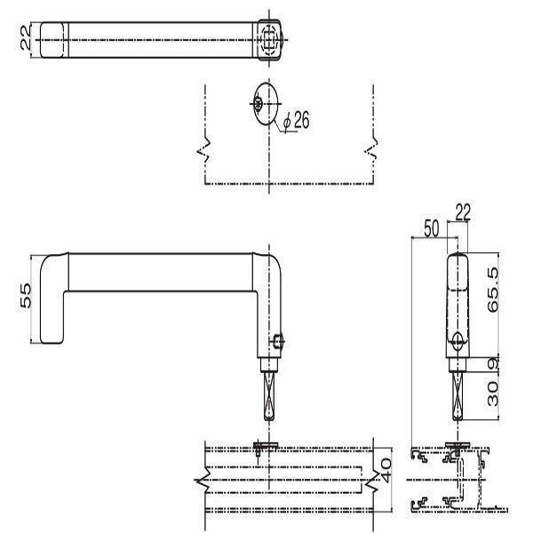 【YKK AP メンテナンス部品】 取外しハンドル (HH-2K-19043) DIY リフォーム