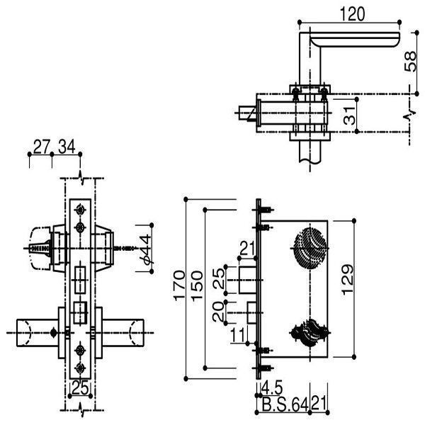 【YKK AP メンテナンス部品】 堀込型レバーハンドル錠 (HH-3K-11796) DIY リフォーム