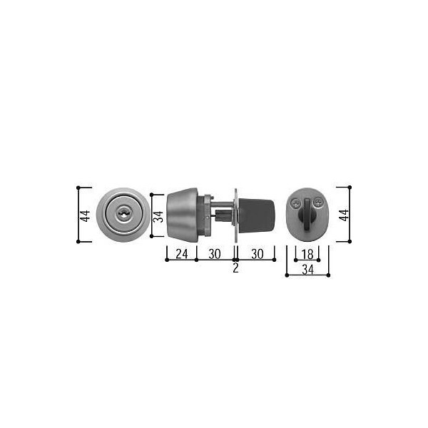 【YKK AP メンテナンス部品】 シリンダー (サムターン付) (HH-3K-19016)